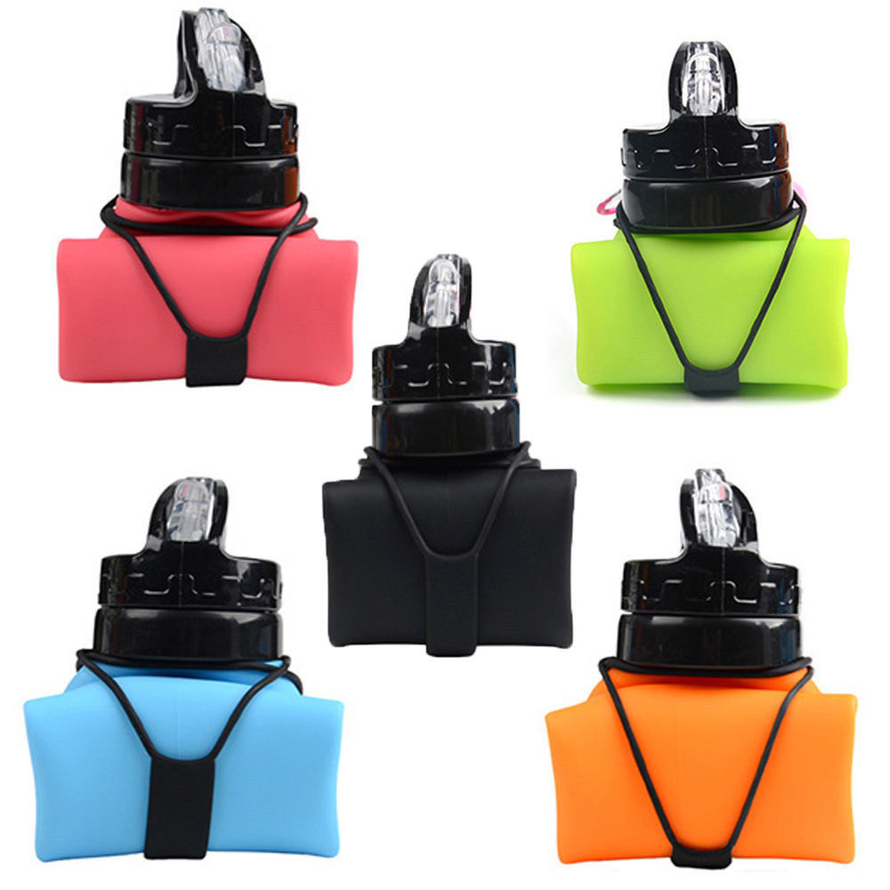600ml Silicone Collapsible Drinkware Water Bottle Folding Travel Sports Creative