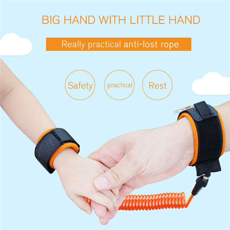 Rotable Head Anti Lost Wrist Link Child Leash Band Hand Safety Strap Rope Baby Kids Toddlers