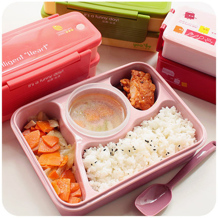 4 compartments Non-pollution Bento Lunch Box Picnic Food Container Storage Box