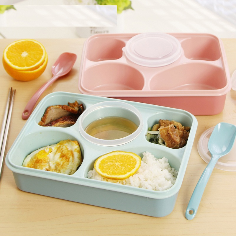 5 compartments Non-pollution Bento Lunch Box Picnic Food Container Storage Box