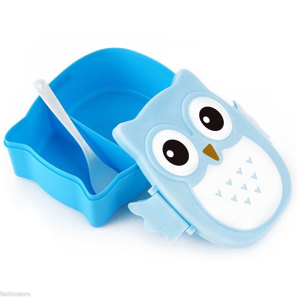 Food Container Storage Box Bento Box Cute Cartoon Owl Portable Spoon Lunch Box
