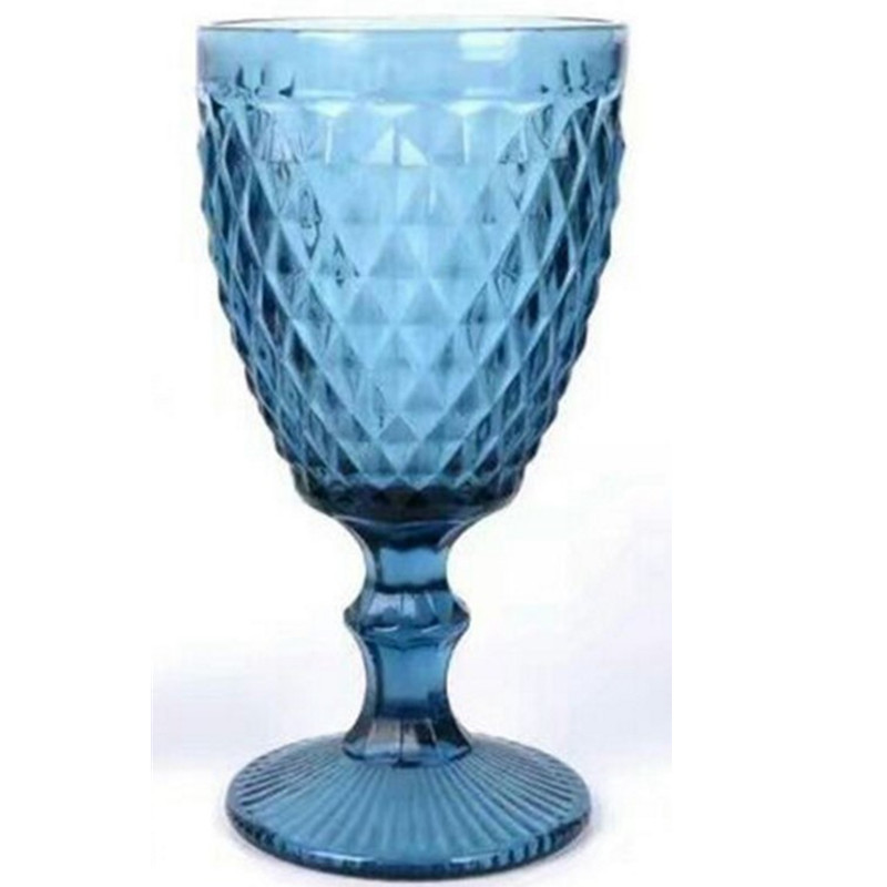 Factory direct European goblet color embossed wine glass hotel party creative goblet banquet goblet